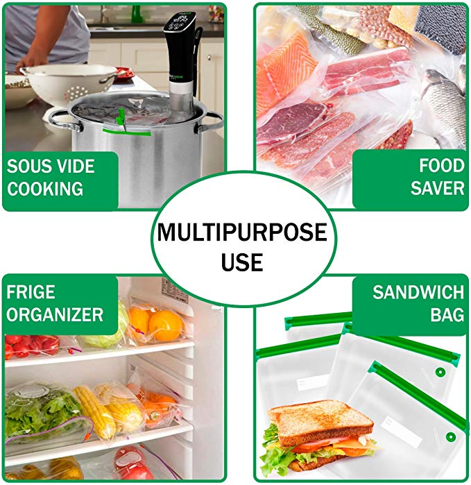 30 Reusable Vacuum Food Storage Bags Sous Vide Bag Kit 3 Sizes BPA Free